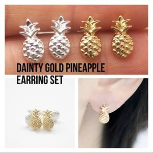 H&M 14k gold pineapple earring set new